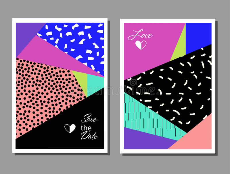 Set of artistic colorful universal cards. Wedding, anniversary, birthday, holiday, party. Design for poster, card, invitation. Vector illustration royalty free illustration