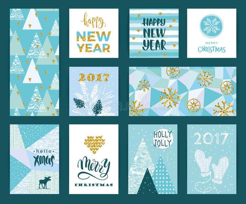 Set of artistic creative Merry Christmas and New Year cards. vector illustration