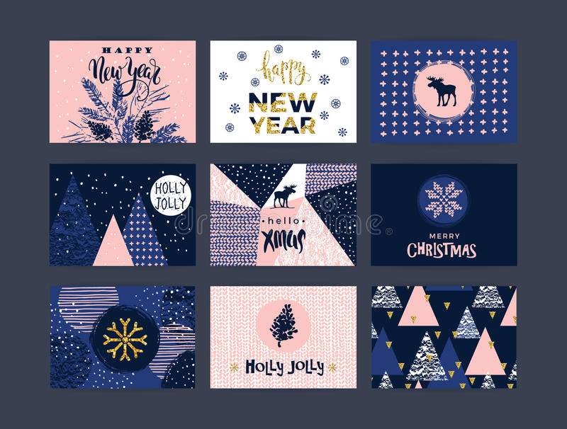 Set of artistic creative Merry Christmas and New Year. Cards. Hand Drawn textures and brush lettering. Design for poster, card, invitation, placard, brochure royalty free illustration