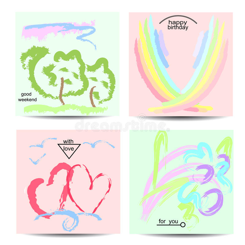 Set of artistic creative universal cards with hand-drawn textures. stock illustration