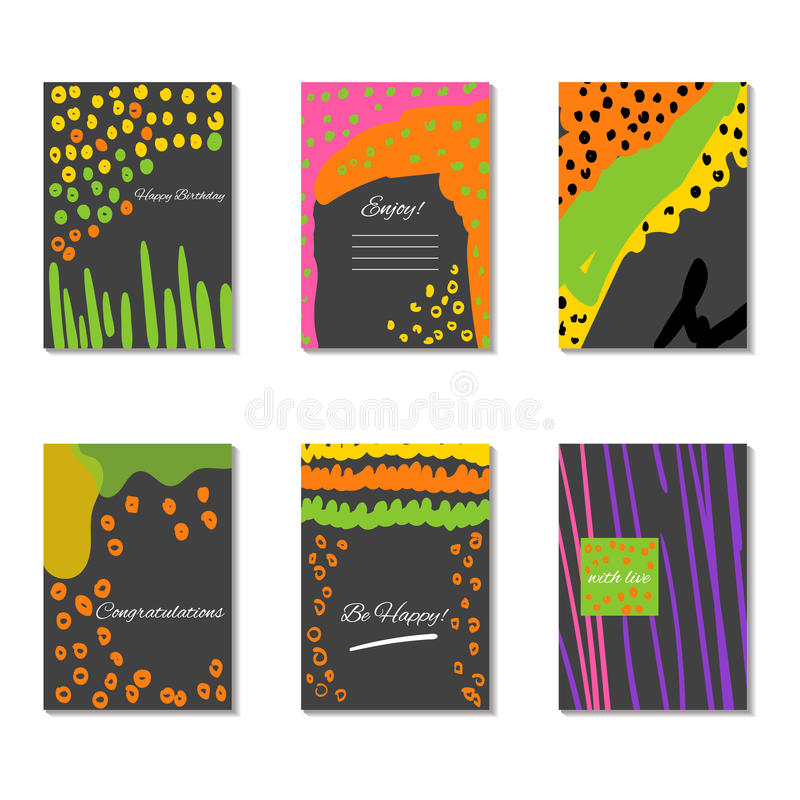 Set of artistic creative universal cards. Vector vector illustration