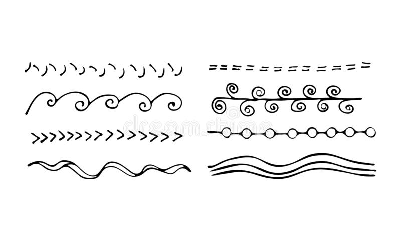 Set of artistic pen brushes. Hand drawn grunge strokes. Vector illustration. Doodle lines, curves and borders vector. Pencil. Effect sketch isolated on white stock illustration