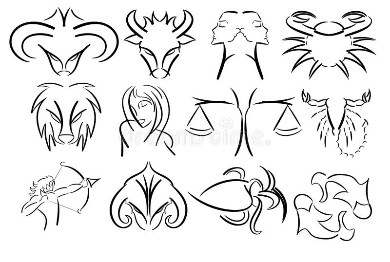 Set of artistic Zodiac signs isolated in black vector illustration