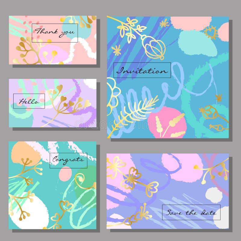 Set artystyczne kolorowe cech ogólnych karty Memphis styl ilustracji