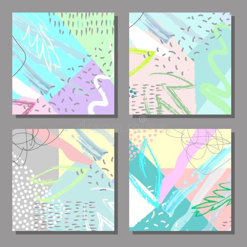 Set artystyczne kolorowe cech ogólnych karty Memphis styl ilustracja wektor