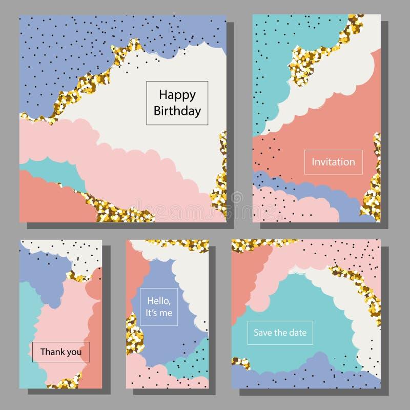 Set artystyczne kolorowe cech ogólnych karty Szczotkarskie tekstury ilustracja wektor
