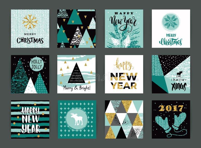 Set artystyczne kreatywnie Wesoło bożych narodzeń i nowego roku karty ilustracji