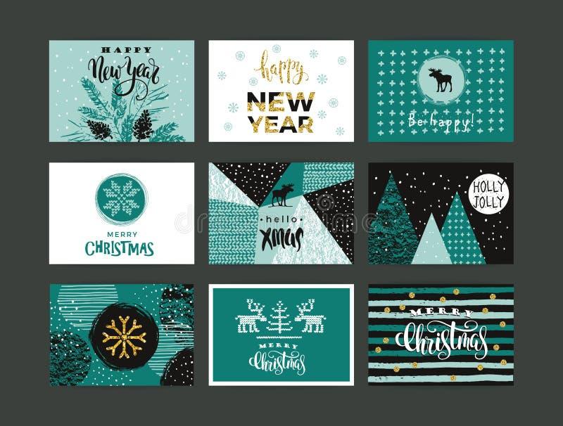 Set artystyczni kreatywnie Wesoło boże narodzenia i nowy rok ilustracji