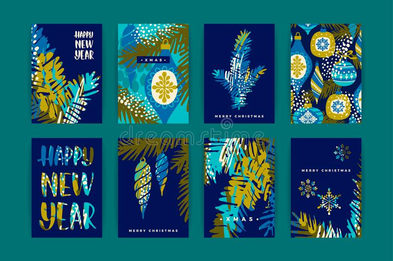 Set artystyczni kreatywnie Wesoło boże narodzenia i Nyew roku karty ilustracja wektor