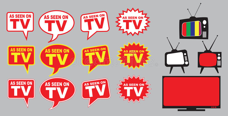 Set of as seen on TV. Icon with television aerial stock illustration