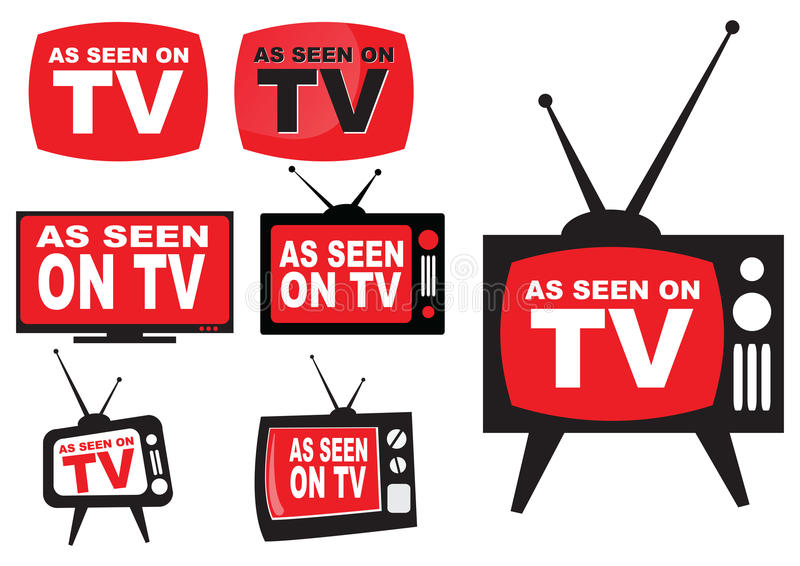 Set of as seen on TV. Icon with television aerial vector illustration