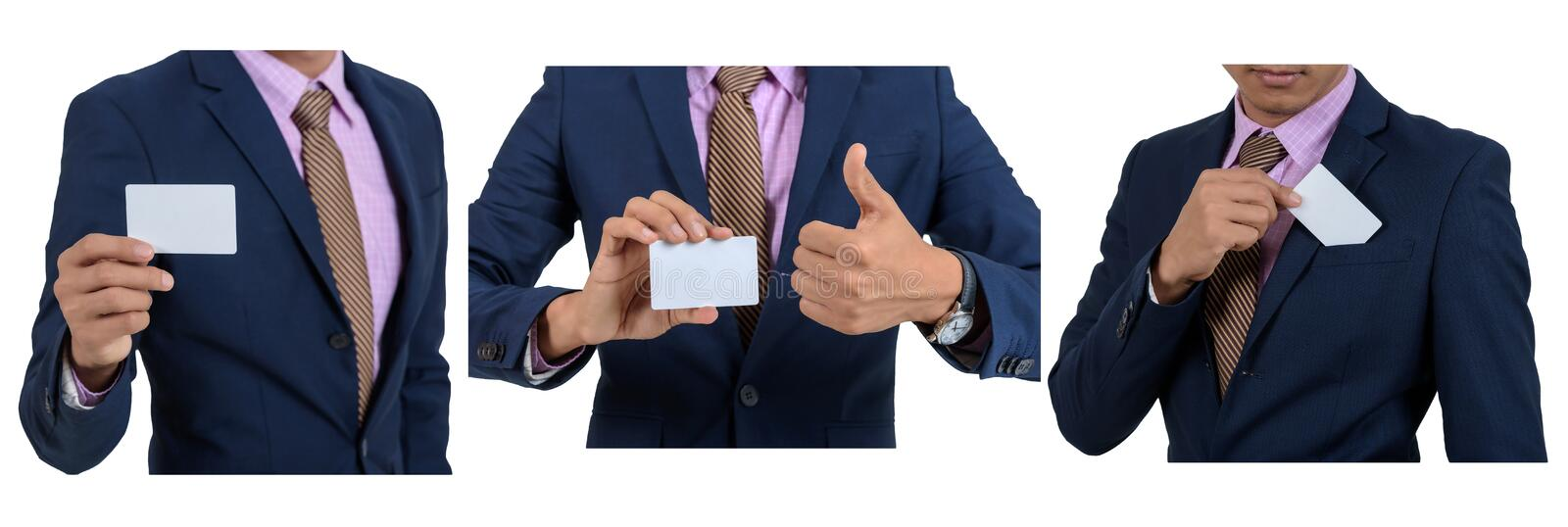Set asian businessman showing blank card by hand On a white background isolated stock images