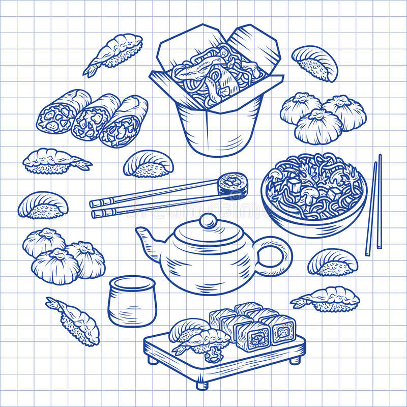 Set with Asian and Chinese cuisine icons Vector hand drawn elements stock illustration