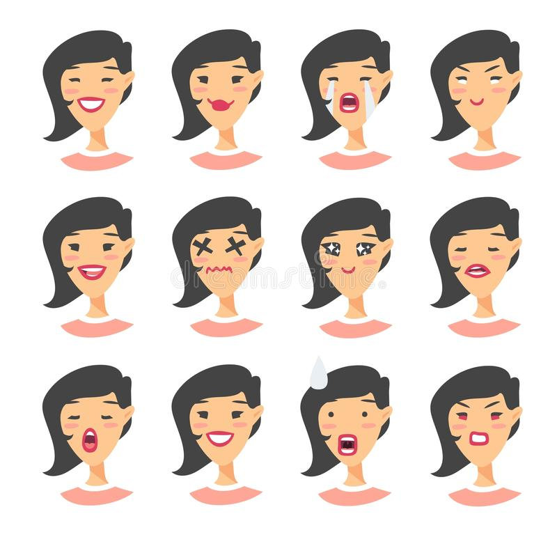 Set of asian emoji character. Cartoon style emotion icons. Isolated girl avatars with different facial expressions. Flat illustrat. Ion womens emotional faces vector illustration