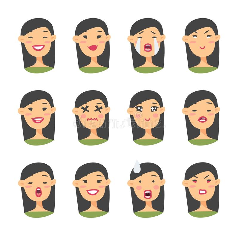 Set of asian emoji character. Cartoon style emotion icons. Isolated girl avatars with different facial expressions. Flat illustrat. Ion womens emotional faces royalty free illustration