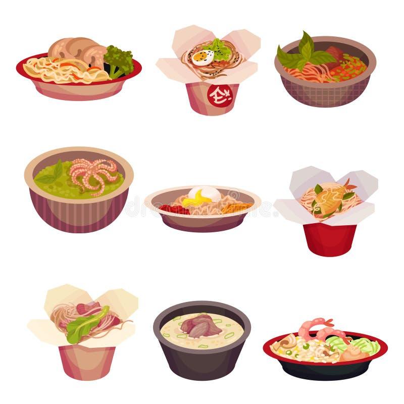 Set of asian food. Vector illustration on a white background. stock illustration
