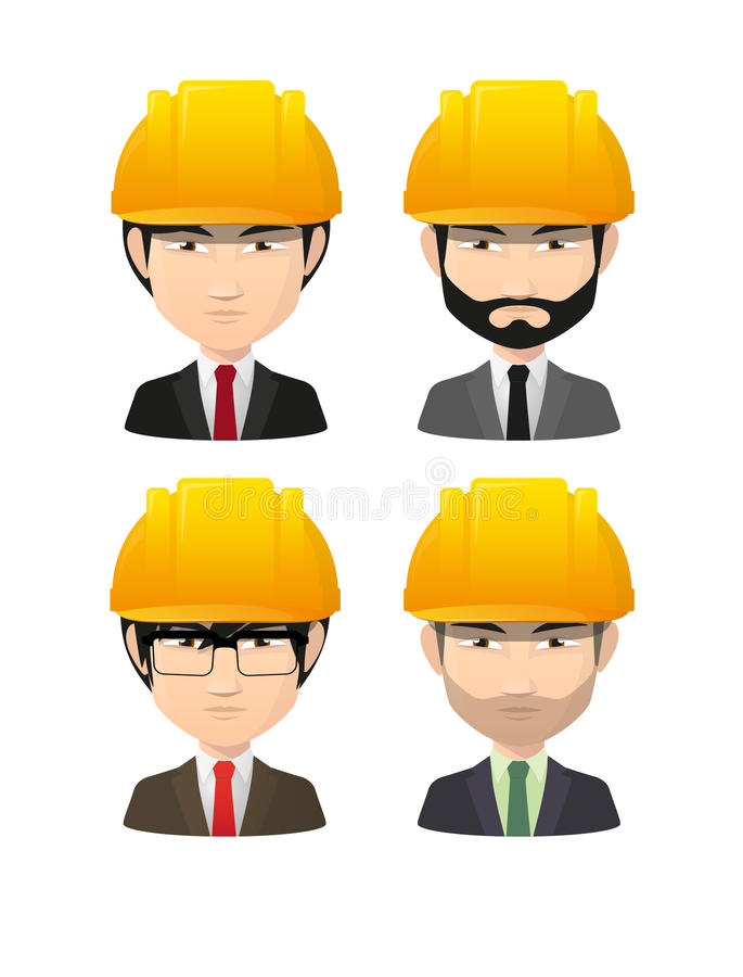 Set of asian male avatars wearing working helmets. Illustration of an isolated set of asian male avatars wearing working helmets vector illustration