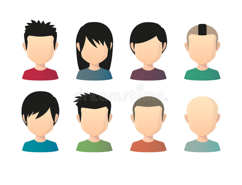 Set of asian male faceless avatars with various hair styles. Illustration of an isolated set of asian male faceless avatars with various hair styles stock illustration