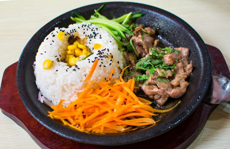 A set of meal with rice, beef, cucumber and carrot served on the. A set of asian meal with rice, beef, cucumber and carrot served on the dark plate royalty free stock photos