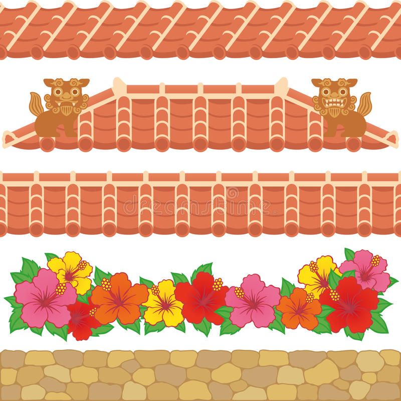 Download Asian red tiles. stock vector. Image of fence, line, prefecture - 30053665