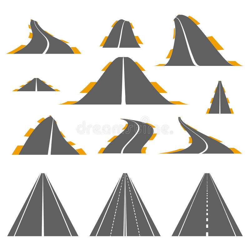 Set of asphalt roads stock illustration