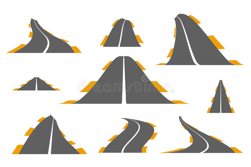 Set of asphalt roads vector illustration