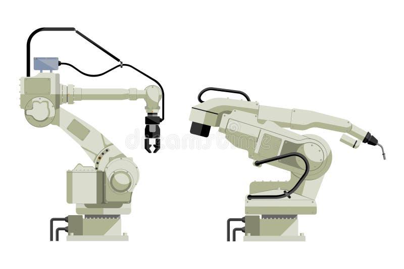 Set of assembly handling and welding robots. Isolated on white background. Vector illustration EPS 10 stock illustration
