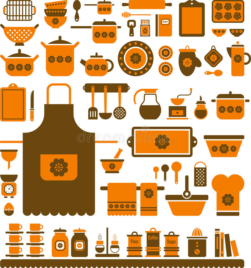 Download Set Of Assorted Kitchen Tools And Dishes Stock Vector - Image: 36691570