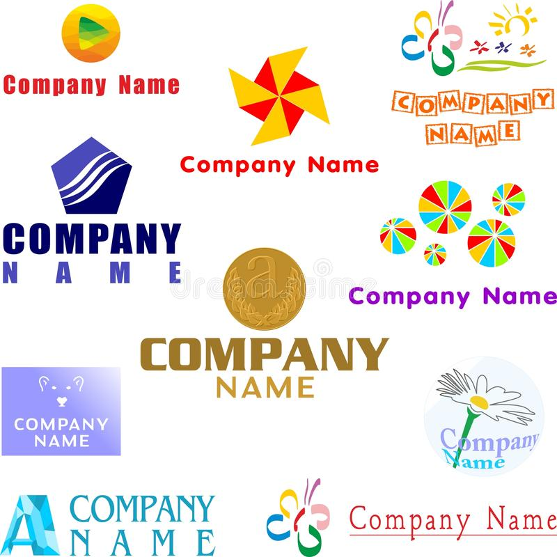 Set of assorted logo examples royalty free illustration