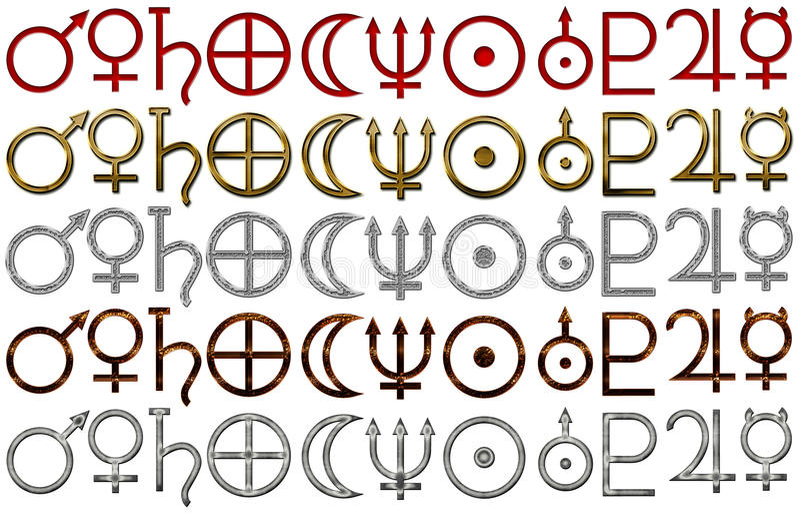 Set Of Astrology Symbols Of Planets Stock Photo Image Of