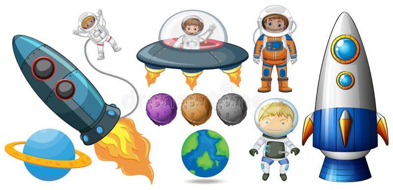 Set Astronautyczny element ilustracja wektor