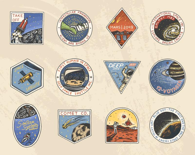Set Astronautyczny logo Ludzka misja Mars Eksploracja astronomiczny galaxy Astronauta lub kosmita przygoda royalty ilustracja