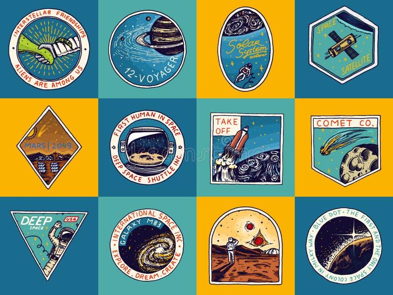Set Astronautyczny logo Ludzka misja Mars Eksploracja astronomiczny galaxy Astronauta lub kosmita przygoda ilustracja wektor