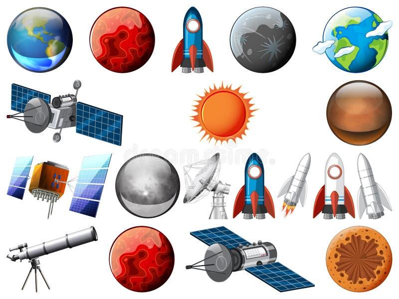 Set astronautyczny przedmiot ilustracji