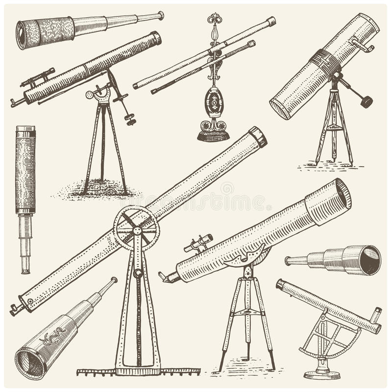 Set of astronomical instruments, telescopes oculars and binoculars, quadrant, sextant engraved in vintage hand drawn vector illustration