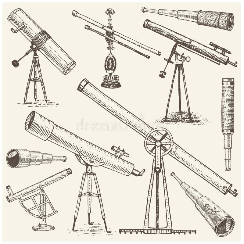 Set astronomiczni instrumenty, teleskopów oculars i lornetki, kwadrant, sextant grawerujący w rocznik ręce rysującej ilustracja wektor