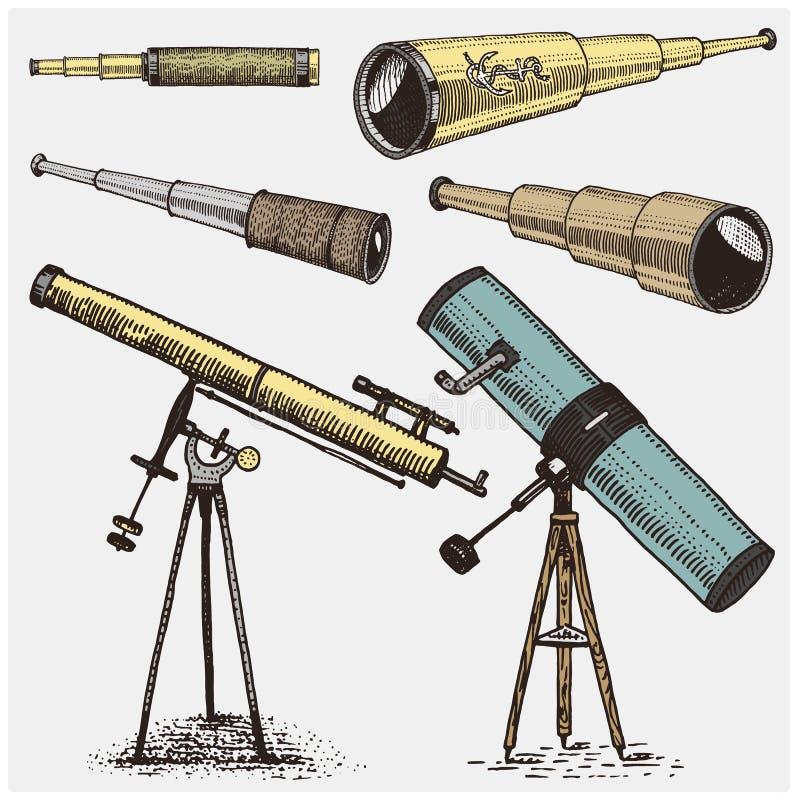 Set astronomiczni instrumenty, teleskopów oculars i lornetki, kwadrant, sextant grawerujący w rocznik ręce rysującej royalty ilustracja