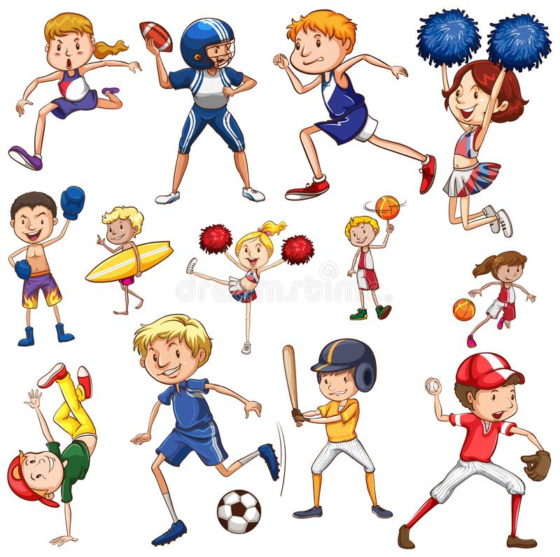 Set of athlete character. Illustration royalty free illustration