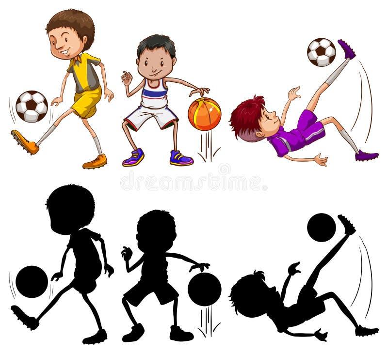 Set of at athlete character. Illustration royalty free illustration