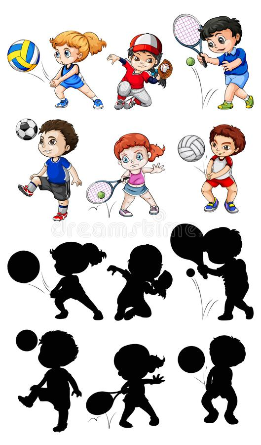 Set of athlete character. Illustration stock illustration