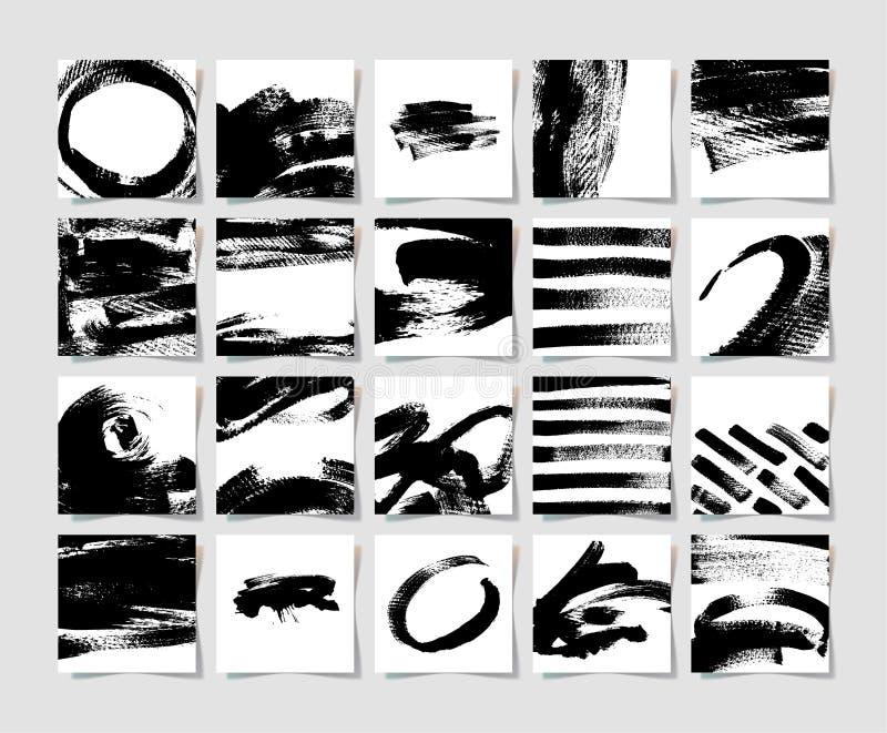 Set 20 atramentów muśnięć grunge kwadrata czarny wzór, ręka rysunek royalty ilustracja