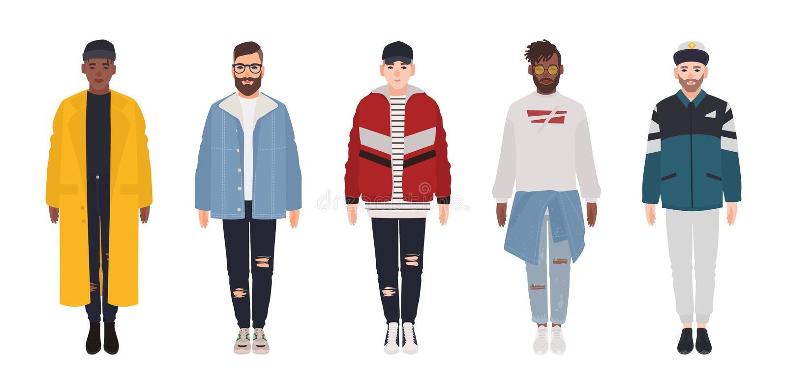 Set of attractive hipster guys dressed in trendy clothes isolated on white background. Bundle of young men wearing royalty free illustration