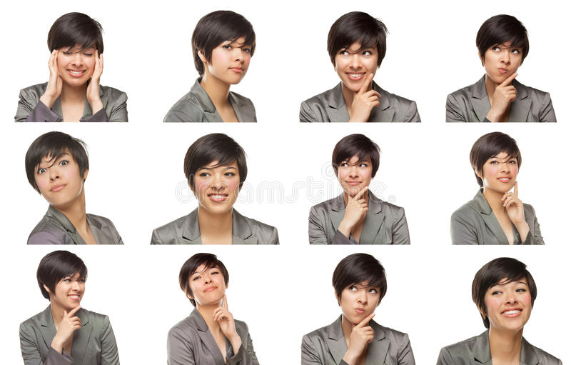 Set of Attractive Mixed Race Young Adult Female with a Variety o royalty free stock image