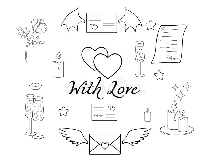 Set of attributes of Valentine`s Day `With love.` Love letters, notes and valentines, as well as glasses, hearts and a rose in a s royalty free illustration