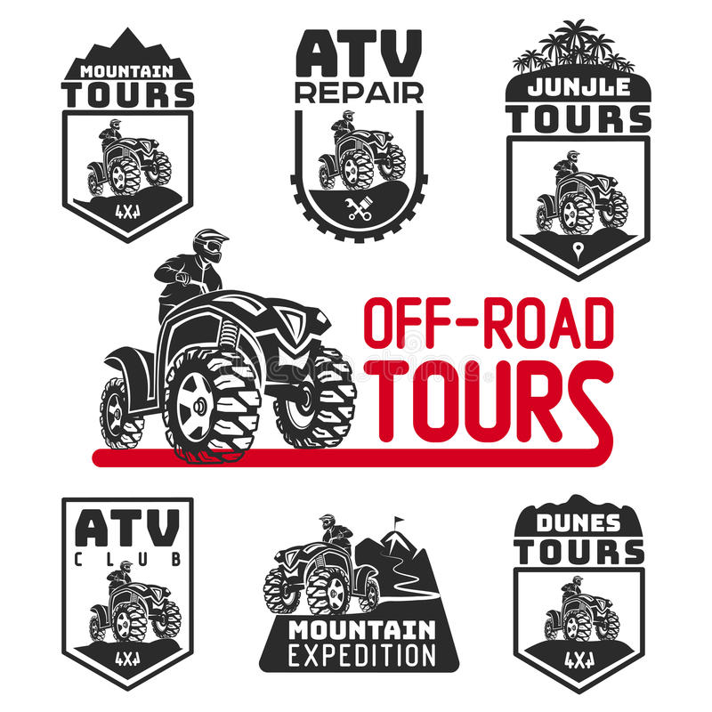 Set of ATV vehicle logo and emblems. All-terrain 4x4 quad illustration. royalty free illustration