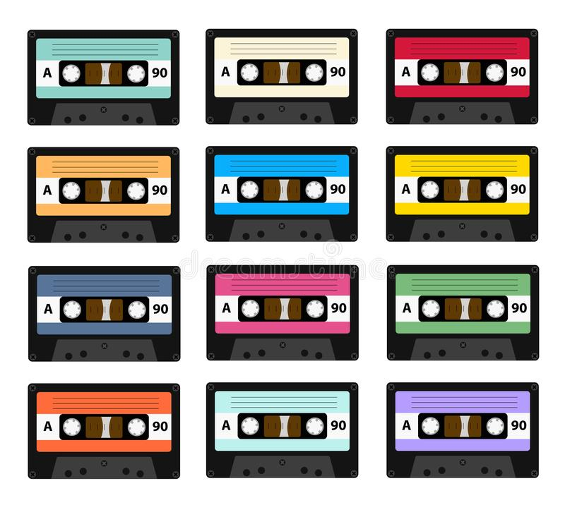 Set of audio cassette old tape recorders used in the 80s of the 20th century. It can be used as an illustration of the. History of the technology of sound royalty free illustration