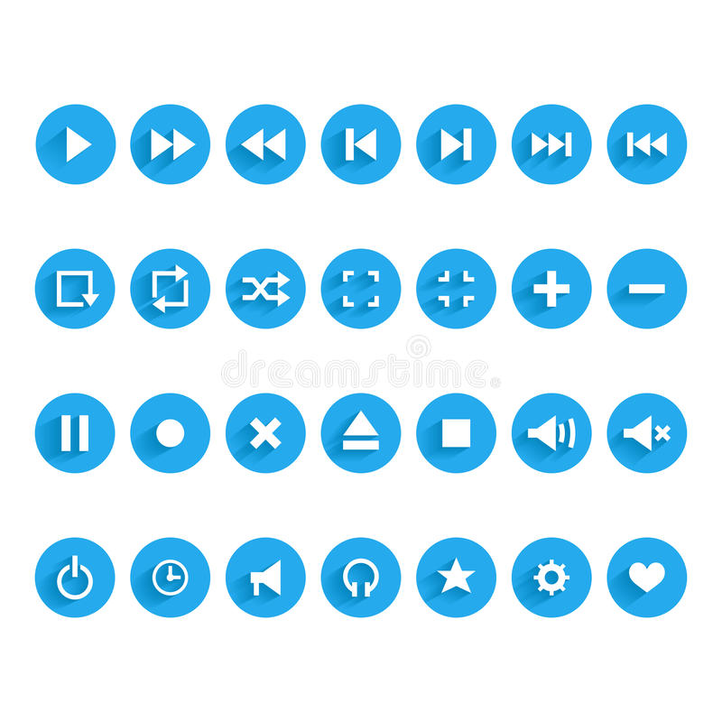 Set Of Audio And Video Symbols Stock Photography
