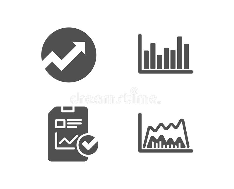 Audit, Report checklist and Bar diagram icons. Trade chart sign. Set of Audit, Report checklist and Bar diagram icons. Trade chart sign. Arrow graph, Sales royalty free illustration