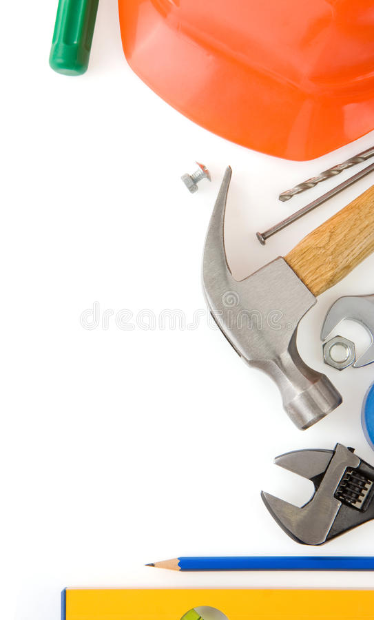 Set Aufbauhilfsmittel auf Weiß lizenzfreie stockfotografie
