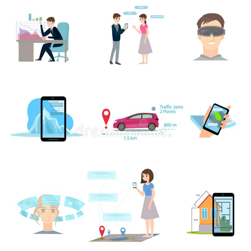 Set of augmented reality using different modern device royalty free illustration